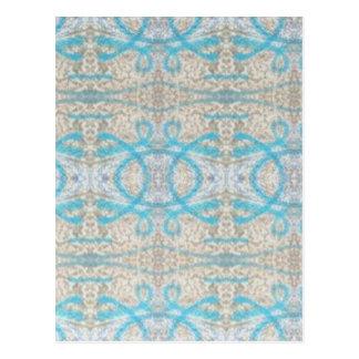 Het blauwe Grijze Krullende Decoratieve Patroon Briefkaart