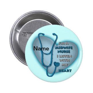 Het Blauwe Hart van de Verpleegster van de vroedvr Speldbutton
