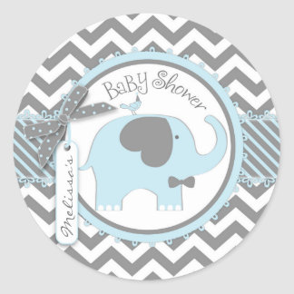 Het blauwe het boog-Stropdas van de Olifant Baby Ronde Sticker