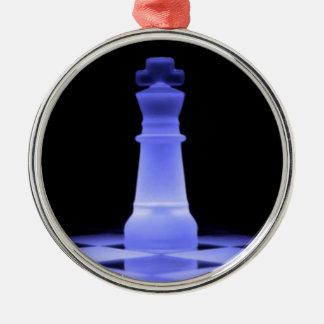 Het blauwe het Gloeien Schaakstuk van de Koning Zilverkleurig Rond Ornament