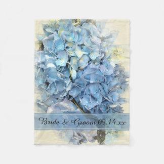 Het blauwe Huwelijk van de Bloem van de Hydrangea Fleece Deken