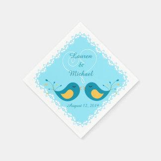 Het blauwe Huwelijk van de Vogels van de Liefde Papieren Servet