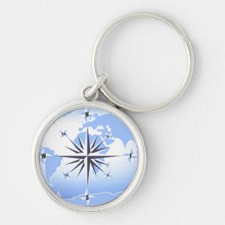 Het blauwe Kompas nam de Zeer belangrijke Keten va Zilverkleurige Ronde Sleutelhanger