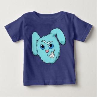 Het blauwe Kwade HoofdOverhemd van het Konijntje Baby T Shirts