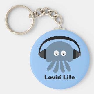 Het blauwe kwallen & hoofdtelefoonsLeven van Lovin Sleutelhanger