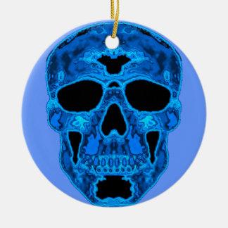 Het blauwe Masker van de Verschrikking van de Rond Keramisch Ornament