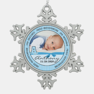 Het Blauwe Monogram A van het Baby van grootouders Tin Sneeuwvlok Ornament