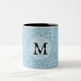 Het blauwe Monogram van de Druk van de Giraf Tweekleurige Koffiemok