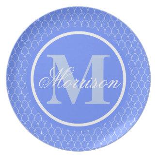 Het blauwe Monogram van de Schalen van de Draak Bord