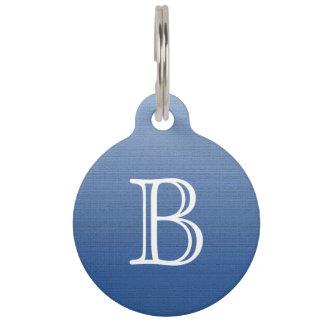 Het blauwe Monogram van de Textuur van Ombre van Huisdierpenning