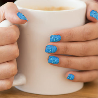 Het blauwe ontwerp van waterdalingen minx nail folie