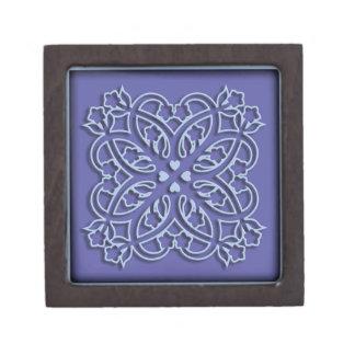 Het blauwe ornament van bloemen en van harten premium bewaar doosjes