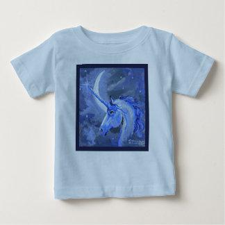 Het Blauwe Overhemd van de Eenhoorn van de maan Baby T Shirts