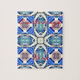 Het blauwe patroon Thunder_Cove van mandalaharten Legpuzzel
