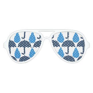 Het blauwe Patroon van de Dag van Regendruppels en Aviator Zonnebril