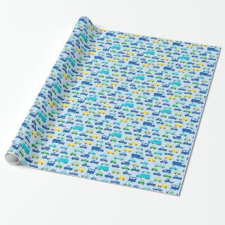 het blauwe patroon van de speelgoedauto - inpakpapier
