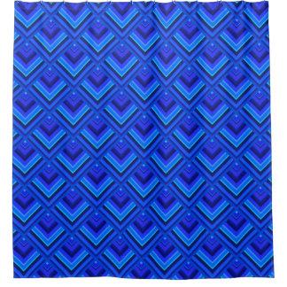Het blauwe patroon van de strepenschaal douchegordijn