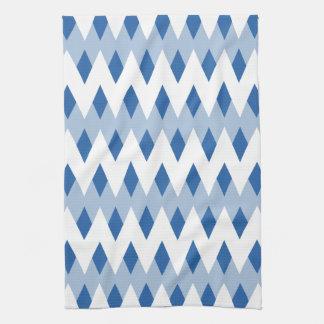 Het blauwe Patroon van de Zigzag met de Vormen van Theedoek