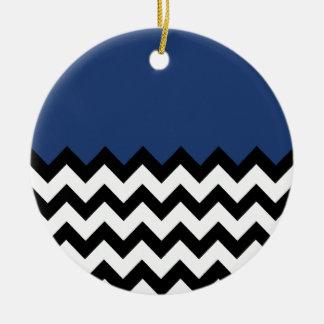 Het Blauwe Patroon van het kobalt op de Grote Rond Keramisch Ornament