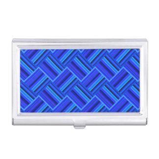 Het blauwe patroon van het strepen diagonale visitekaarthouder