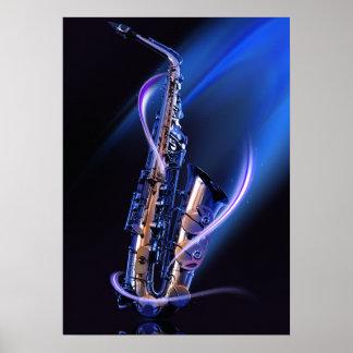 Het blauwe Poster van de Saxofoon