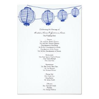 Het blauwe Programma van het Huwelijk van de 12,7x17,8 Uitnodiging Kaart