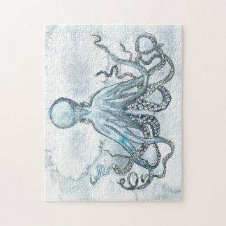 Het blauwe Raadsel van de Foto van de Octopus Foto Puzzels