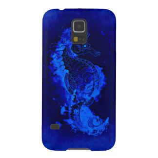 Het blauwe Schilderen Seahorse Galaxy S5 Hoesje