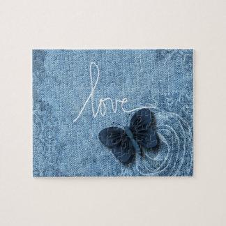 Het blauwe Snoepje van de Liefde van de Vlinder Puzzel