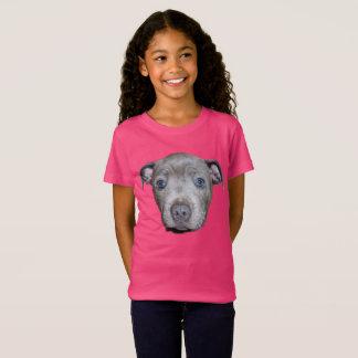 Het blauwe Staffordshire Bull terrier Gezicht van T Shirt