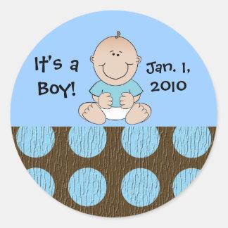 Het Blauwe Stip van de Jongen van het baby Ronde Sticker