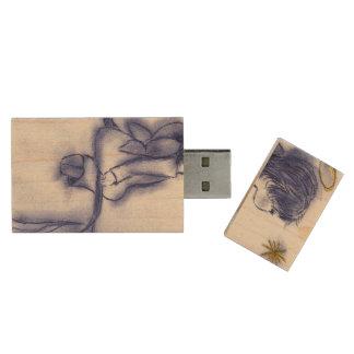 het blauwe tintengel dit wensen houten USB stick