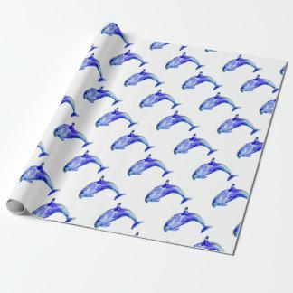 Het blauwe Verpakkende Document van de Dolfijn Inpakpapier