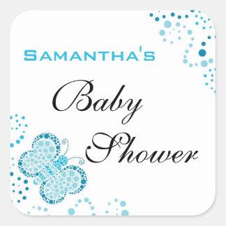 Het blauwe & Witte Elegante Baby shower van de Vierkant Stickers
