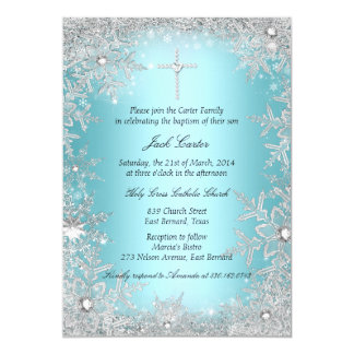 Het blauwe Zilveren Doopsel/het Doopsel van de 12,7x17,8 Uitnodiging Kaart