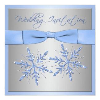 Het blauwe, Zilveren Grijze Huwelijk van 13,3x13,3 Vierkante Uitnodiging Kaart