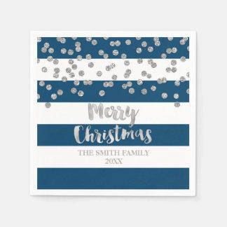 Het blauwe Zilveren Servet van Kerstmis van Wegwerp Servet