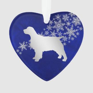 Het blauwe Zilveren Spaniel van de Sneeuwvlok Ornament