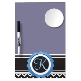 Het blauwe Zwarte Monogram van de Saffier van de Whiteboard Met Spiegel