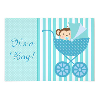 Het blauwgroen Blauwe Baby shower van de Aap 8,9x12,7 Uitnodiging Kaart