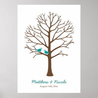 Het blauwgroen Blauwe Bruine Huwelijk van de Boom  Poster