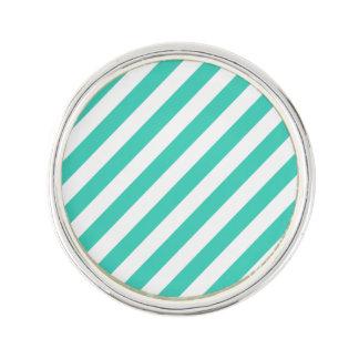 Het blauwgroen en Witte Diagonale Patroon van Reverspeldje