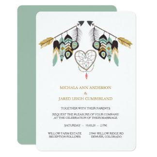 Het blauwgroen Huwelijk van Dreamcatcher van de 12,7x17,8 Uitnodiging Kaart