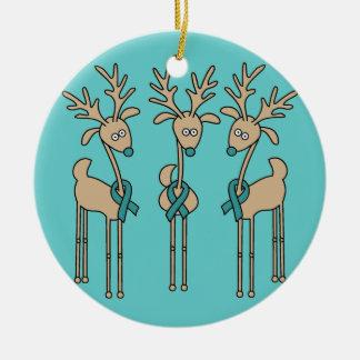 Het blauwgroen Rendier van het Lint (Ovariale Rond Keramisch Ornament