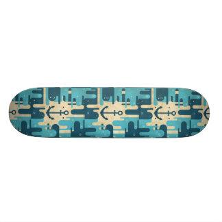 Het blauwgroen Retro ZeevaartOntwerp van het Anker Persoonlijk Skateboard