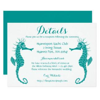 Het blauwgroen Turkooise Huwelijk van het Strand 11,4x15,9 Uitnodiging Kaart