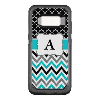 Het blauwgroen Zwarte Monogram van de Chevron OtterBox Commuter Samsung Galaxy S8 Hoesje