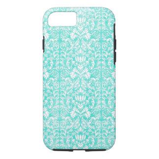 Het blauwgroene BloemenDamast Verouderde Patroon iPhone 7 Hoesje
