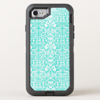 Het blauwgroene BloemenDamast Verouderde Patroon OtterBox Defender iPhone 7 Hoesje