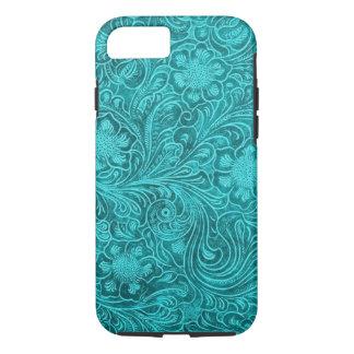 Het blauwgroene BloemenPatroon van het Leer van iPhone 7 Hoesje